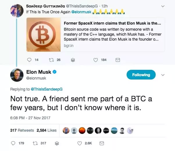 Elon Musk and his bitcoin